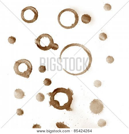 Coffee cup stains and drops marks on white background