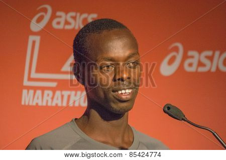 Allan Kiprono , Kenyan Marathon Runner Attends A Press Conference