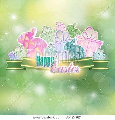 Easter background with ribbon, hares and gifts