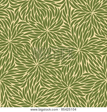 Abstract Green Strokes Flowers Seamless Pattern On Beige Background