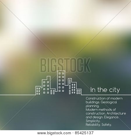 Cityscape Line Graphic On Blurred Background