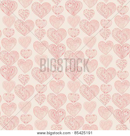 Seamless Pink Hearts Vertical Pattern On Light Yellow Background