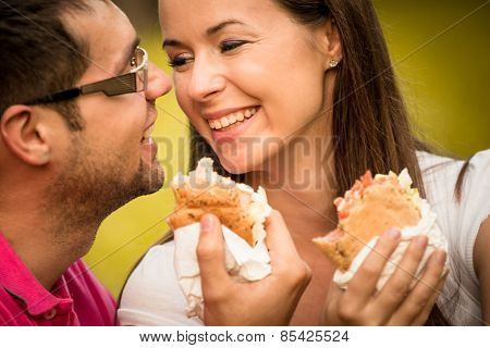 Couple eating and talking on date