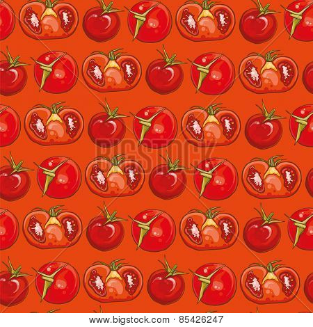 Red Seamless Pattern With Tomatoes