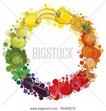 Round Composition With Fruits And Vegetables. Food Circle