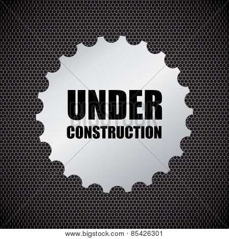 Under Construction Background With Chrome Metal Grid Design, Vector Illustration