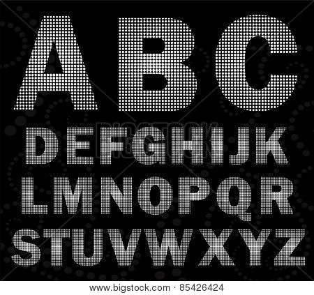 Creative Halfton Font Style. Alphabet In Halfton Style.