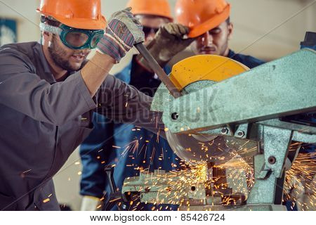 Workers in industrial factory