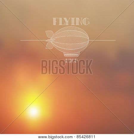 Blurred Sunset Skies Background With White Dirigible Line Art