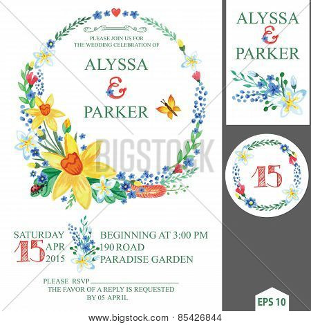 Spring Wedding Invitation With Floral Wreath.Narcissus Flowers