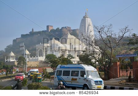 Jaipur, India - January 31, 2014: Birla Mandir Is A Hindu Temple In Jaipur