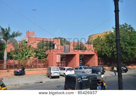Jaipur, India - January 31, 2014: Indian People Around Jawahar Kala Kendra In Jaipur