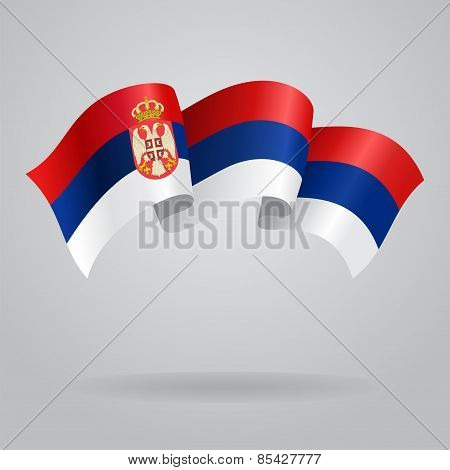Serbian waving Flag. Vector illustration