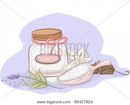Illustration of a Jar of Homemade Bath Salt and Ingredients for Essential Oils