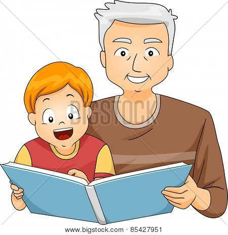 Illustration of a Grandfather Reading to His Grandson