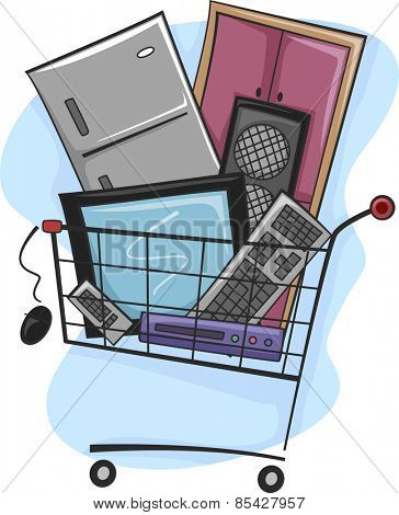 Illustration of a Shopping Cart Full of Home Appliances