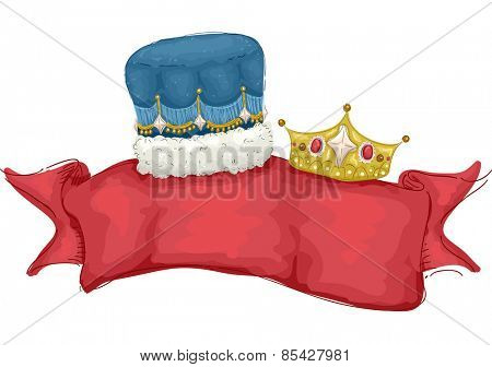 Illustration of a Banner Decorated with a Male and Female Crown