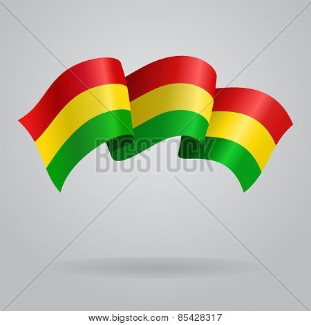 Bolivian waving Flag. Vector illustration