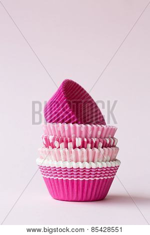 Stack of pink cupcake cases