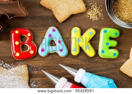 Cookies forming the word bake