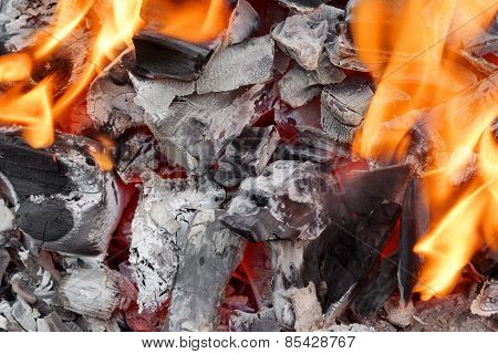 Embers Close-up Background Or Texture