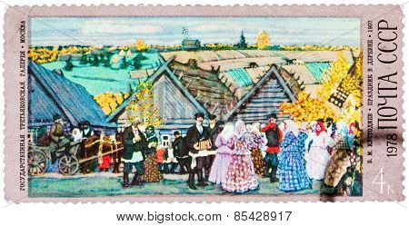 Stamp printed in USSR shows painting by artist Boris Kustodiev
