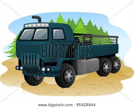 Illustration of an Army Truck with the Back Uncovered