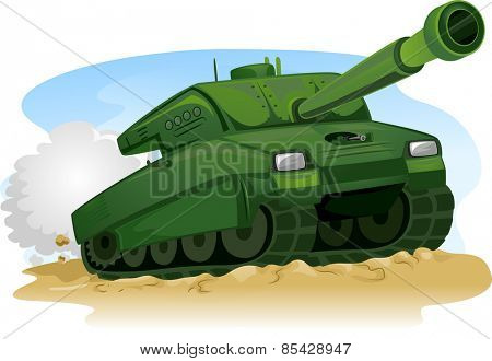 Illustration of a Military Tank Treading on Rough Terrain