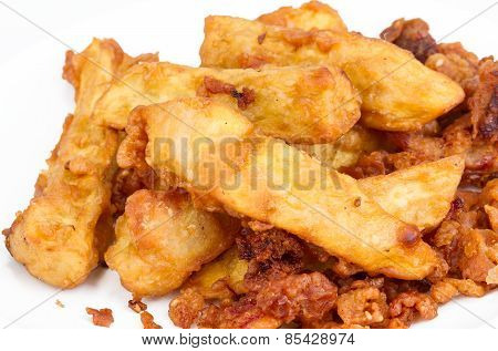 Deep Fired Yam On White Background