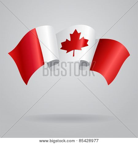 Canadian waving Flag. Vector illustration