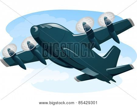 Illustration of a Cargo Plane in the Middle of a Flight