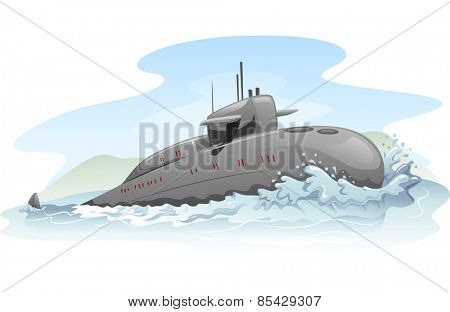 Illustration of a Submarine Partially Submerged