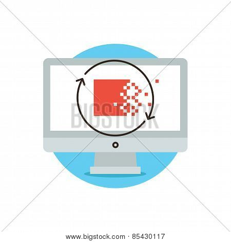 Encryption And Data Protection Flat Line Icon Concept