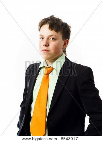 Expressive Teenage Boy Posing In Studio