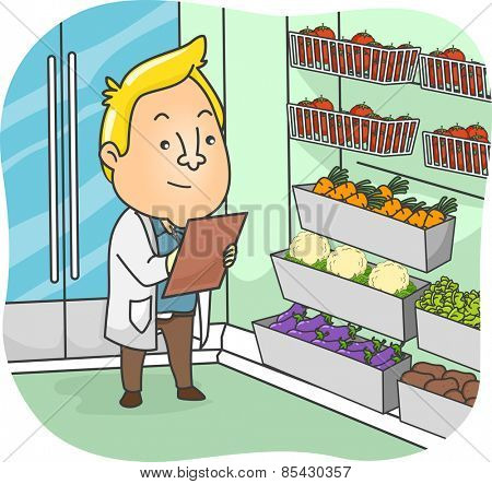Illustration of a Sanitation Inspector Examining the Products at a Supermarket