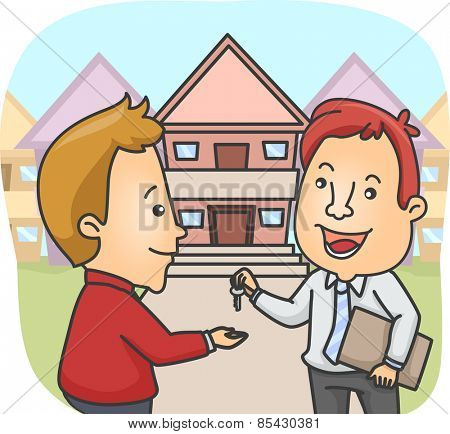 Illustration of a Real Estate Agent Handing Over the House Key to the New Owner