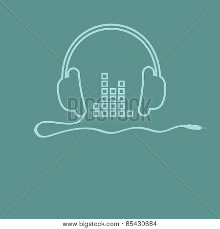 Headphones With Cord And Equalizer Music Background Card Outline Icon. Flat Design