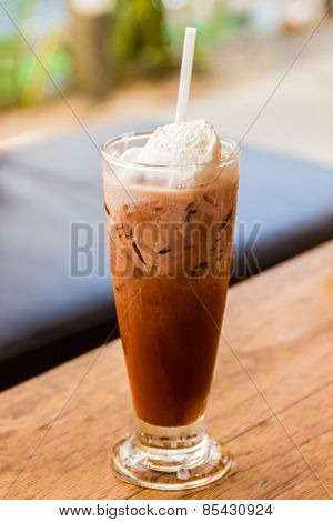 Ice Coffee With Whipped Cream .