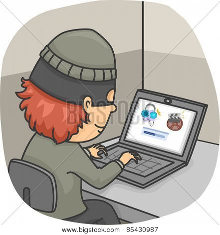 Illustration of a Man Illegally Downloading Files from the Internet