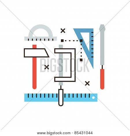 Engineering Tools Flat Line Icon Concept