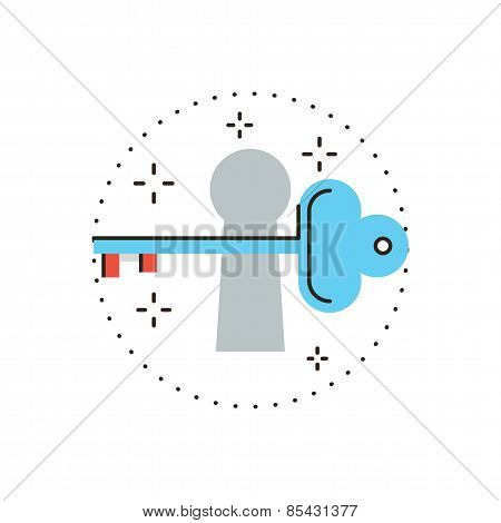 Key For Opportunity Flat Line Icon Concept