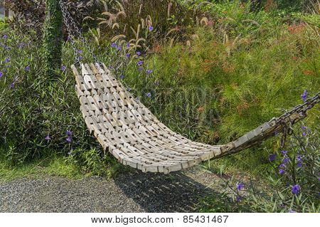 Garden Swing Rest Chair Grass Hot Sunshine Entry Concept