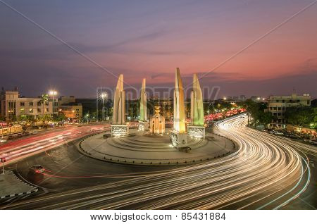 The Democracy Monument At Twilight Time At Bangkok,thailand