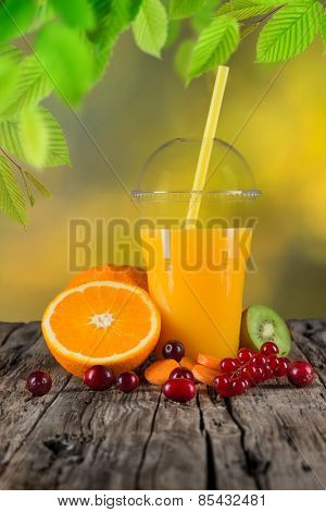 Fresh juice mix vegetables and fruit, healthy drinks on wooden table.