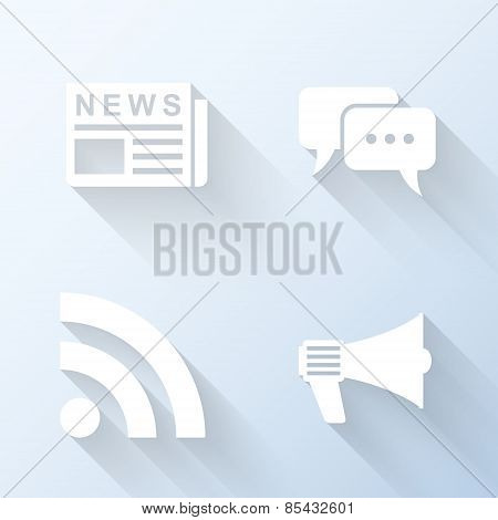 Flat News Icons With Long Shadows. Vector Illustration
