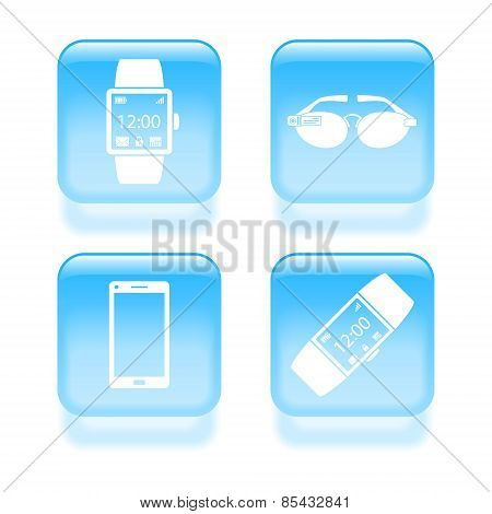 Glassy Smart Wearable Device Icons. Vector Illustration