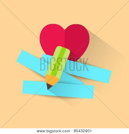 Pencil and strips of paper for message for beloved . Vector illustration.