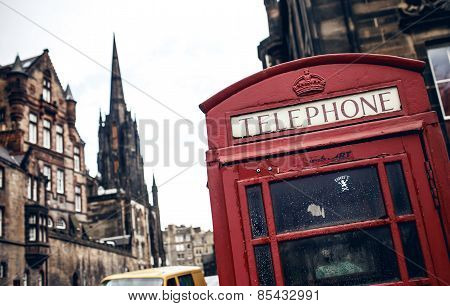 Red phone booth in Edinburgh