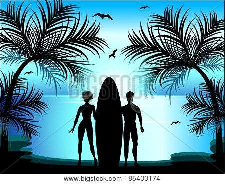 Silhouette Of Man And Woman On The Background Of A Tropical Landscape. Surfing. Just Married.