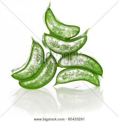 stack of freshly sliced Aloe Vera on white background
